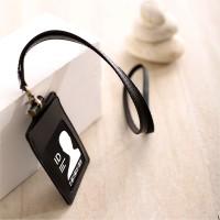Name Tag ID Card Holder Temboro Kalung Premium ID Badge Leather - Hitam