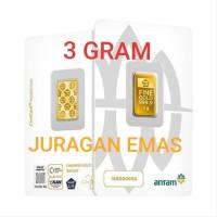 3 GR (GRAM) LOGAM MULIA/LM/EMAS BATANGAN ANTAM SERTIFIKAT BARU