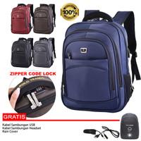 Polo Trands Backpack / Tas Ransel 36175 Dengan Lock Nomor Retslleting