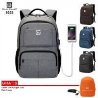 Bruno Cavalli 8655 Ransel Kerja Trendy Free USB Charger Original