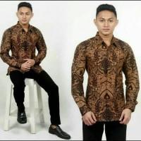 Baju atasan kemeja pria batik lengan panjang motif Mataram M L XL XXL