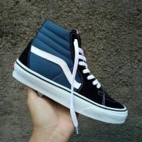 Sepatu Sneakers Vans Sk8 Hi Black Blue White