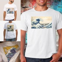Kaos T-Shirt Lengan Pendek Model Lukisan Ombak Laut Hokusai Jepang
