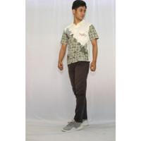 Kaos Solo Motif Batik Lawasan Kaos Kerah Pria Kaos Unisex Putih S