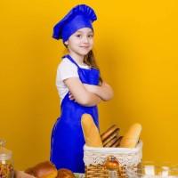 Apron Anak Biru Cotton Set Topi Koki High Quality