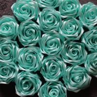 aplikasi bunga mawar satin/bahan bros satin/buket/souvenir