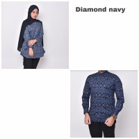 Waryulion baju batik couple pasangan ibu dan ayah Diamond navy