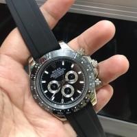 Jam Tangan Pria Rolex Oyster Daytona Silver Rubber Automatic 4.3cm