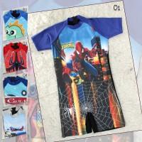 Baju renang Anak Cowok diving pendek terusan anak ABG tanggung - M, Biru