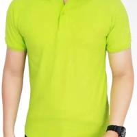 Polo shirt cotton pique polos uk. M,L,XL warna Hijau Stabilo
