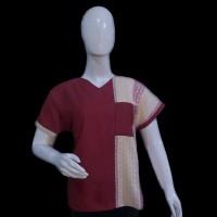 baju wanita + nika etnik + bahan katun kombinasi ulos + ULI BLOUSE
