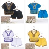 Setelan Kaos T-Shirt Lengan Pendek + Celana Gaya Cina untuk Bayi