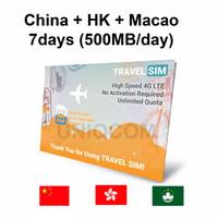 Travelling Internet Sim Card Travel Sim China-hk-macao 7d