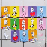 Banner Bunting Flag Happy Birthday HBD BT21 BTS Rainbow