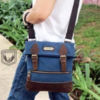 Tas Selempang Pria Messenger Bag Kanvas Genuine Leather ORI