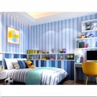 Biru Salur Wallpaper Dinding 10M x 45Cm