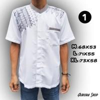 Terbaru Tahun ini Baju Koko Putih Tangan Pendek Bahan Semi Sutra