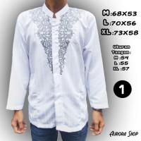 Terbaru Tahun ini Baju Koko Putih Tangan Panjang Bahan Semi Sutra