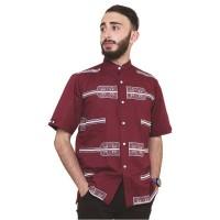 Baju koko busana muslim pria lengan pendek merah maroon ori RNDZ