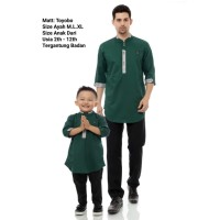 Baju koko kurta pria Couple ayah & anak bahan Toyobo premium CB04 - Hijau Botol, M 2 - 12 thn
