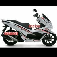 STRIPING CUTTING STICKER HONDA PCX MOTOR PUTIH STICKER BLACK RED 03