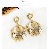 Anting Korea Alloy bee earrings diamonds