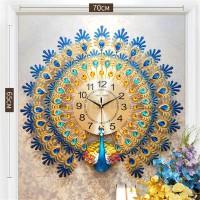 Modern Large 70CM Peacock Clock Quartz Clock Room Mute Wall Clock