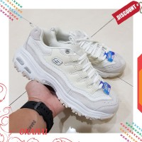 Terlaris skechers dlites sure thing - white / sneakers wanita Elegan