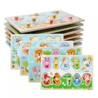 Mainan Edukasi Anak WOODEN TOYS Puzzle Kayu Knob MONTESSORI ~ Medium
