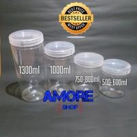 Toples Cylinder 1000ml Jar Premium Toples Tabung Plastik Kue Snack PET