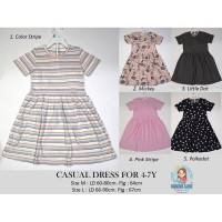 CASUAL DRESS FOR KIDS 4-7Y / BAJU ANAK / DRESS ANAK / ROK - UK M, COLOR STRIPE