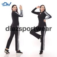 stelan baju senam wanita hitam pakaian olahraga cewek panjanh - Hitam, M
