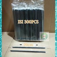 Sedotan Plastik 6mm 20cm steril Hitam Runcing Lancip ISI 300PCS