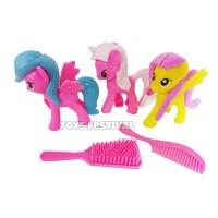 Mini Figure Set 3 Pcs Boneka Kuda Pony dan Aksesoris