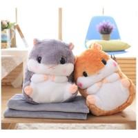 bantal selimut 3 in 1, balmut hamster anak, bantal selimut lucu