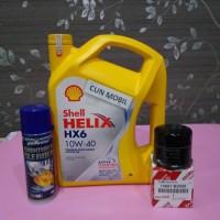 Paket oli mesin Shell HX6 10W-40 Agya, Ayla, Calya, Sigra ada 3 item