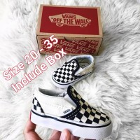 Sepatu vans anak slip on checkerboard unisex