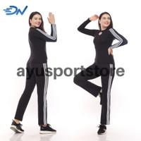 Baju senam panjang set olahraga wanita panjang pakaian aerobic cewek - Hitam, S