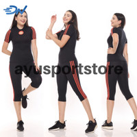 Baju senam jumbo warna hitam setelan aerobic wanita pakaian olahraga - Hitam, S