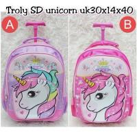 Troli SD Unicorn Kepala Tas Koper Anak Trolley Backpack school