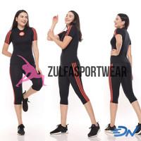 Setelan senam aerobic jumbo hitam wanita baju fitness wanita