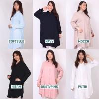 Kemeja Tunik Basic Jumbo Wanita Baju Kerja Lengan Panjang Aura XL XXXL