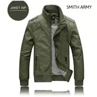 JAKET PARKA BIG SIZE XL XXL HARRINGTON PRIA COWOK WATERPROOF BOMBER - SMITH ARMY, L