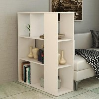 Rak Pajangan Rak Buku Partisi Sekat Ruangan Minimalis 4 Susun - Putih