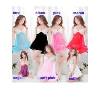 Sexy Lingerie Dress Baju Tidur Lace Babydoll Murah Big Size (Set) 5480