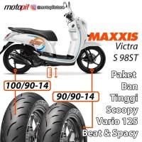 Maxxis Paket Ban Tinggi Scoopy Beat Sepasang 90/90-14 100/90-14 VICTRA