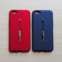 Personality Case Oppo F3 / casing armor back soft hard ring kickstand - Merah