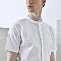 WHITE CLASSIC MANDARIN COLLAR SHIRT