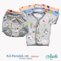 ARUCHI-Setelan Baju Bayi Kancing Depan Tangan Pendek New Born (0-3 bul