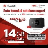 Mifi Modem Wifi Router 4G Huawei E5577 Max 3000mah Free Telkomsel 14Gb
